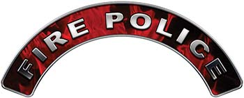 Fire Police Fire Fighter, EMS, Rescue Helmet Arc / Rockers Decal Reflective In Inferno Red Real Flames