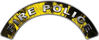Fire Police Fire Fighter, EMS, Rescue Helmet Arc / Rockers Decal Reflective In Inferno Yellow Real Flames