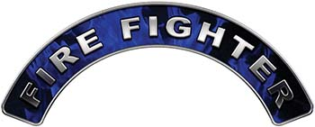 Firefighter Fire Fighter, EMS, Rescue Helmet Arc / Rockers Decal Reflective In Inferno Blue Real Flames