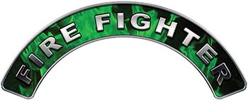 Firefighter Fire Fighter, EMS, Rescue Helmet Arc / Rockers Decal Reflective In Inferno Green Real Flames