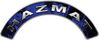 Hazmat Fire Fighter, EMS, Rescue Helmet Arc / Rockers Decal Reflective In Inferno Blue Real Flames