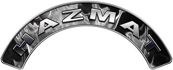 Hazmat Fire Fighter, EMS, Rescue Helmet Arc / Rockers Decal Reflective In Inferno Gray Real Flames