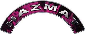 Hazmat Fire Fighter, EMS, Rescue Helmet Arc / Rockers Decal Reflective In Inferno Pink Real Flames