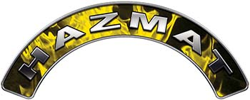 Hazmat Fire Fighter, EMS, Rescue Helmet Arc / Rockers Decal Reflective In Inferno Yellow Real Flames