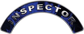 Inspector Fire Fighter, EMS, Rescue Helmet Arc / Rockers Decal Reflective In Inferno Blue Real Flames