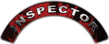 Inspector Fire Fighter, EMS, Rescue Helmet Arc / Rockers Decal Reflective In Inferno Red Real Flames