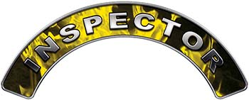 Inspector Fire Fighter, EMS, Rescue Helmet Arc / Rockers Decal Reflective In Inferno Yellow Real Flames