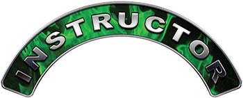 Instructor Fire Fighter, EMS, Rescue Helmet Arc / Rockers Decal Reflective In Inferno Green Real Flames