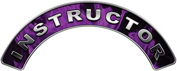 Instructor Fire Fighter, EMS, Rescue Helmet Arc / Rockers Decal Reflective In Inferno Purple Real Flames