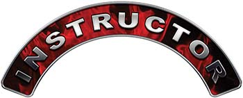 Instructor Fire Fighter, EMS, Rescue Helmet Arc / Rockers Decal Reflective In Inferno Red Real Flames