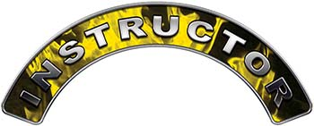 Instructor Fire Fighter, EMS, Rescue Helmet Arc / Rockers Decal Reflective In Inferno Yellow Real Flames