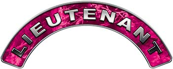 Lieutenant Fire Fighter, EMS, Rescue Helmet Arc / Rockers Decal Reflective in Pink Camo