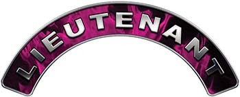 Lieutenant Fire Fighter, EMS, Rescue Helmet Arc / Rockers Decal Reflective In Inferno Pink Real Flames