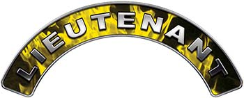 Lieutenant Fire Fighter, EMS, Rescue Helmet Arc / Rockers Decal Reflective In Inferno Yellow Real Flames