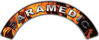 Paramedic Fire Fighter, EMS, Rescue Helmet Arc / Rockers Decal Reflective In Inferno Real Flames