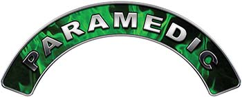 Paramedic Fire Fighter, EMS, Rescue Helmet Arc / Rockers Decal Reflective In Inferno Green Real Flames