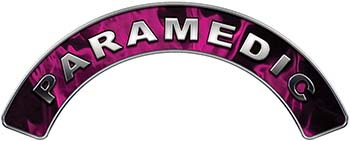 Paramedic Fire Fighter, EMS, Rescue Helmet Arc / Rockers Decal Reflective In Inferno Pink Real Flames