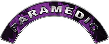 Paramedic Fire Fighter, EMS, Rescue Helmet Arc / Rockers Decal Reflective In Inferno Purple Real Flames