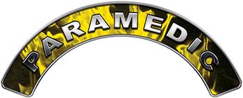Paramedic Fire Fighter, EMS, Rescue Helmet Arc / Rockers Decal Reflective In Inferno Yellow Real Flames