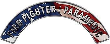 Paramedic Fire Fighter, EMS, Rescue Helmet Arc / Rockers Decal Reflective with American Flag