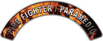 Paramedic Fire Fighter, EMS, Rescue Helmet Arc / Rockers Decal Reflective in Inferno Flames