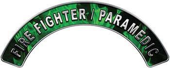 Paramedic Fire Fighter, EMS, Rescue Helmet Arc / Rockers Decal Reflective in Green Inferno Flames
