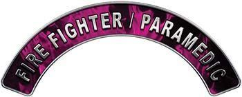 Paramedic Fire Fighter, EMS, Rescue Helmet Arc / Rockers Decal Reflective in Pink Inferno Flames