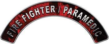 Paramedic Fire Fighter, EMS, Rescue Helmet Arc / Rockers Decal Reflective in Red Inferno Flames