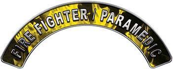 Paramedic Fire Fighter, EMS, Rescue Helmet Arc / Rockers Decal Reflective in Yellow Inferno Flames