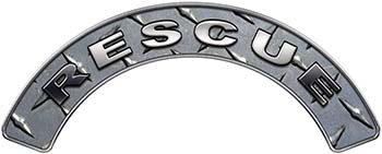 RESCUE Fire Fighter, EMS, Rescue Helmet Arc / Rockers Decal Reflective in Diamond Plate