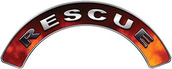 RESCUE Fire Fighter, EMS, Rescue Helmet Arc / Rockers Decal Reflective in Real Fire