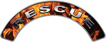 RESCUE Fire Fighter, EMS, Rescue Helmet Arc / Rockers Decal Reflective In Inferno Real Flames