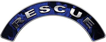 RESCUE Fire Fighter, EMS, Rescue Helmet Arc / Rockers Decal Reflective In Inferno Blue Real Flames