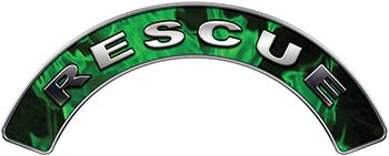RESCUE Fire Fighter, EMS, Rescue Helmet Arc / Rockers Decal Reflective In Inferno Green Real Flames