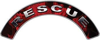 RESCUE Fire Fighter, EMS, Rescue Helmet Arc / Rockers Decal Reflective In Inferno Red Real Flames