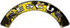 RESCUE Fire Fighter, EMS, Rescue Helmet Arc / Rockers Decal Reflective In Inferno Yellow Real Flames