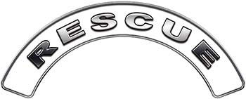 RESCUE Fire Fighter, EMS, Rescue Helmet Arc / Rockers Decal Reflective in White