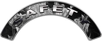 Safety Fire Fighter, EMS, Rescue Helmet Arc / Rockers Decal Reflective In Inferno Gray Real Flames
