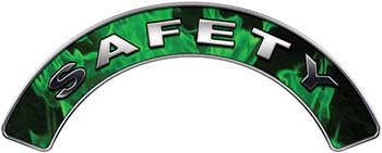Safety Fire Fighter, EMS, Rescue Helmet Arc / Rockers Decal Reflective In Inferno Green Real Flames