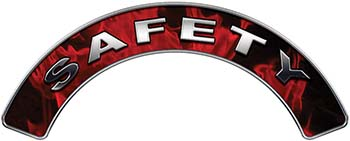 Safety Fire Fighter, EMS, Rescue Helmet Arc / Rockers Decal Reflective In Inferno Red Real Flames