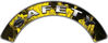 Safety Fire Fighter, EMS, Rescue Helmet Arc / Rockers Decal Reflective In Inferno Yellow Real Flames