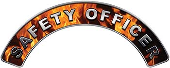 Safety Officer Fire Fighter, EMS, Rescue Helmet Arc / Rockers Decal Reflective In Inferno Real Flames