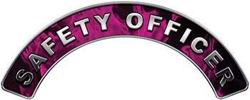 Safety Officer Fire Fighter, EMS, Rescue Helmet Arc / Rockers Decal Reflective In Inferno Pink Real Flames