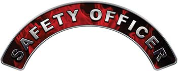 Safety Officer Fire Fighter, EMS, Rescue Helmet Arc / Rockers Decal Reflective In Inferno Red Real Flames