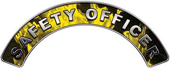 Safety Officer Fire Fighter, EMS, Rescue Helmet Arc / Rockers Decal Reflective In Inferno Yellow Real Flames