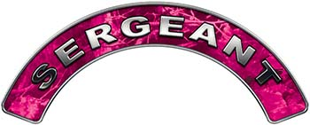 Sergeant Fire Fighter, EMS, Rescue Helmet Arc / Rockers Decal Reflective in Pink Camo