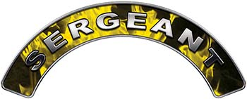Sergeant Fire Fighter, EMS, Rescue Helmet Arc / Rockers Decal Reflective In Inferno Yellow Real Flames