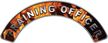 Training Officer Fire Fighter, EMS, Rescue Helmet Arc / Rockers Decal Reflective In Inferno Real Flames