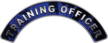 Training Officer Fire Fighter, EMS, Rescue Helmet Arc / Rockers Decal Reflective In Inferno Blue Real Flames