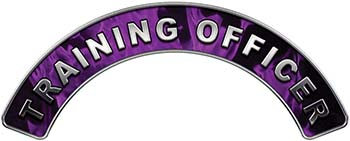 Training Officer Fire Fighter, EMS, Rescue Helmet Arc / Rockers Decal Reflective In Inferno Purple Real Flames